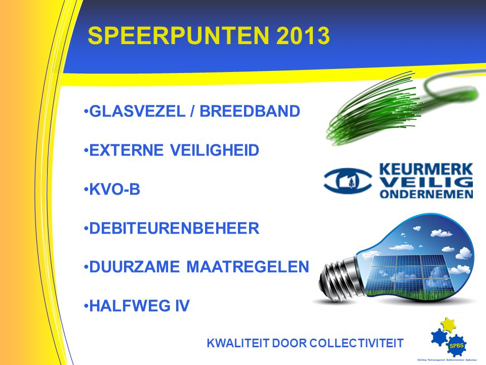 SPEERPUNTEN 2013 KWALITEIT DOOR COLLECTIVITEIT GLASVEZEL / BREEDBAND EXTERNE VEILIGHEID KVO-B DEBITEURENBEHEER DUURZAME MAATREGELEN HALFWEG IV