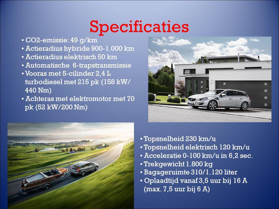 Specificaties CO2-emissie: 49 g/km Actieradius hybride 900-1.000 km Actieradius elektrisch 50 km Automatische 6-trapstransmissie Vooras met 5-cilinder 2,4 L turbodiesel met 215 pk (158 kW/ 440 Nm) Achteras met elektromotor met 70 pk (52 kW/200 Nm) Topsnelheid 230 km/u Topsnelheid elektrisch 120 km/u Acceleratie 0-100 km/u in 6,2 sec.