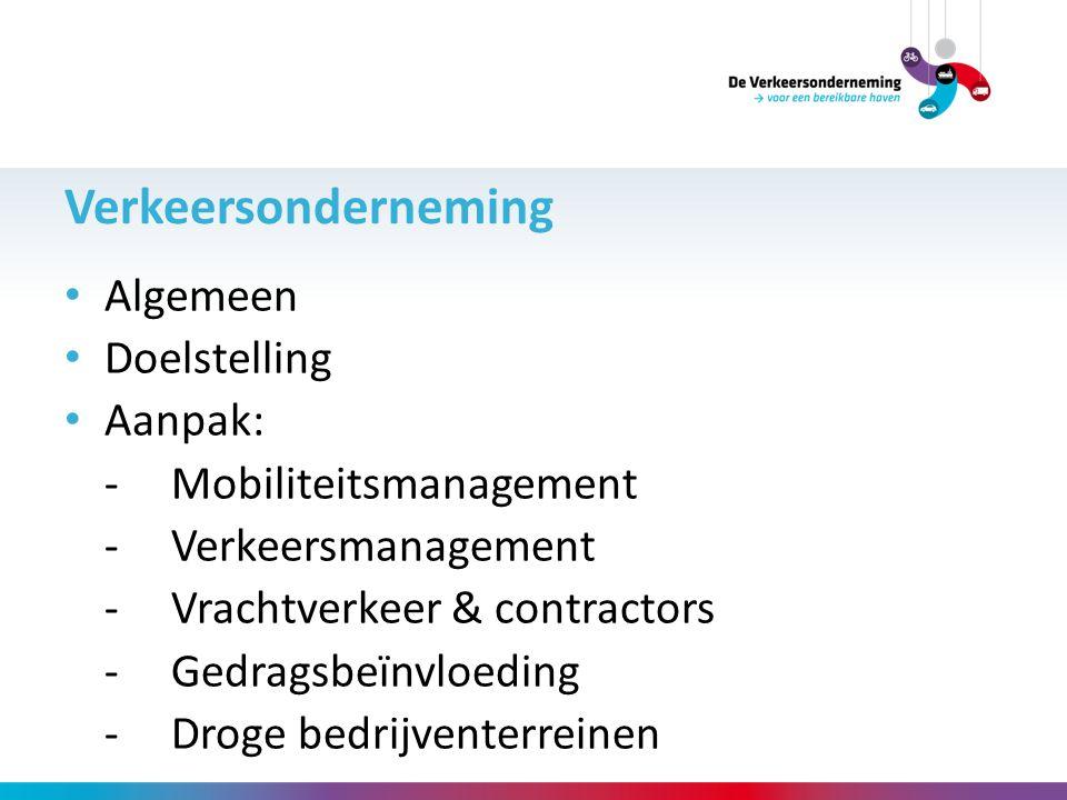 Algemeen Doelstelling Aanpak: - Mobiliteitsmanagement -Verkeersmanagement -Vrachtverkeer & contractors -Gedragsbeïnvloeding -Droge bedrijventerreinen