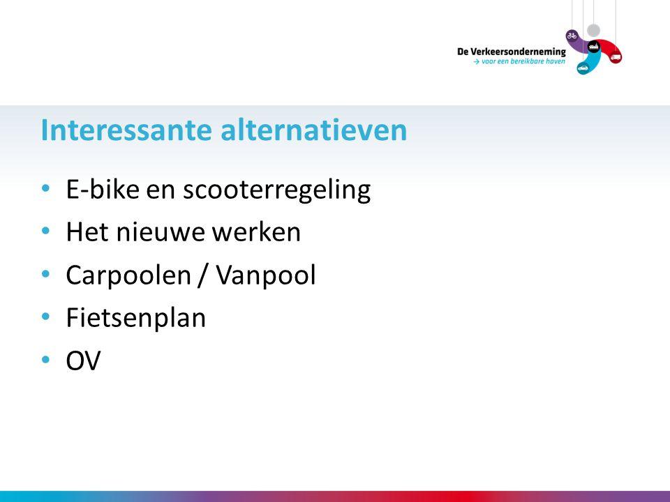 E-bike en scooterregeling Het nieuwe werken Carpoolen / Vanpool Fietsenplan OV Interessante alternatieven