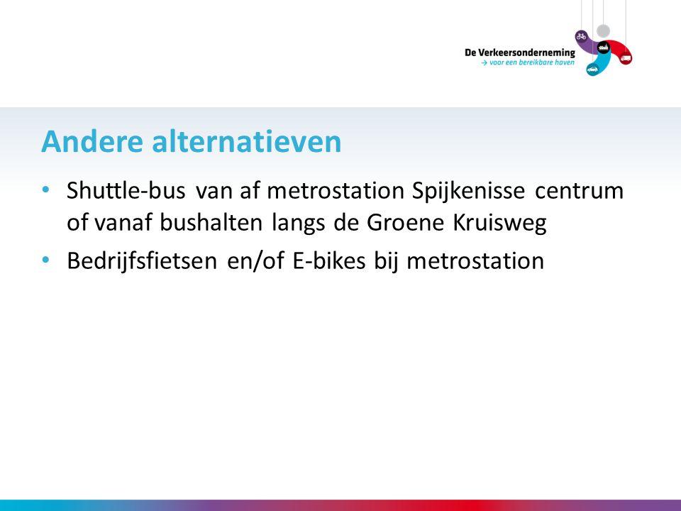 Andere alternatieven Shuttle-bus van af metrostation Spijkenisse centrum of vanaf bushalten langs de Groene Kruisweg Bedrijfsfietsen en/of E-bikes bij