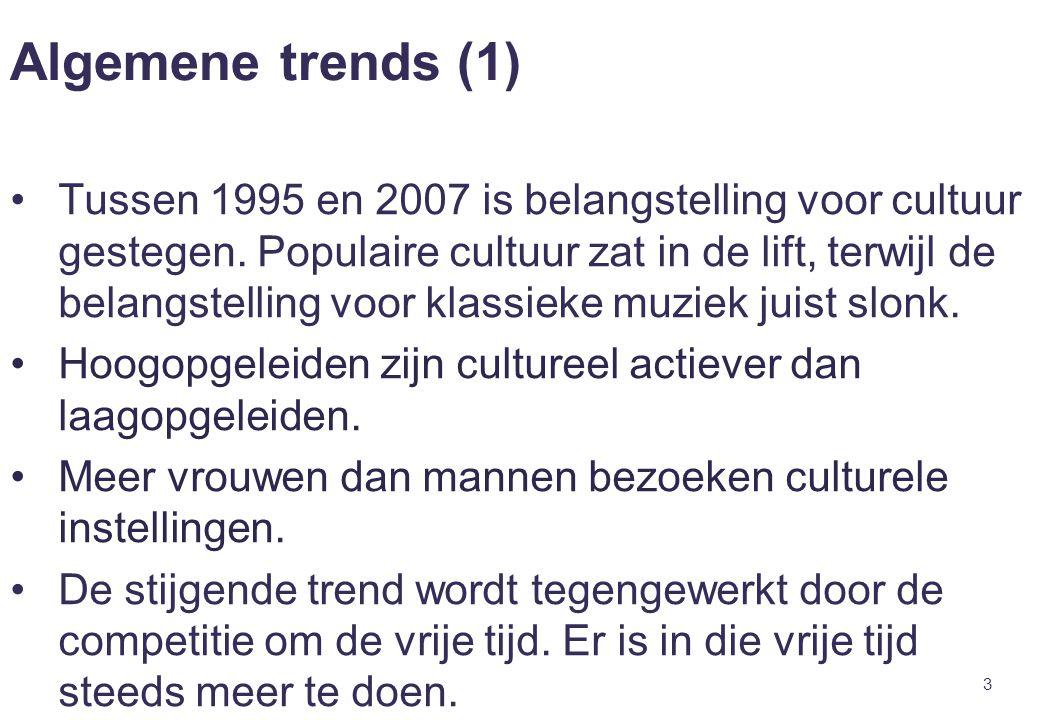 3 Algemene trends (1) Tussen 1995 en 2007 is belangstelling voor cultuur gestegen. Populaire cultuur zat in de lift, terwijl de belangstelling voor kl