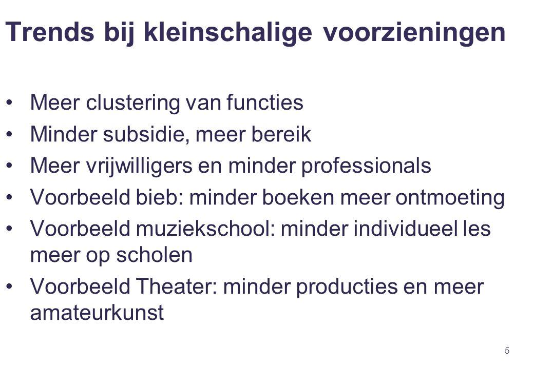 5 Trends bij kleinschalige voorzieningen Meer clustering van functies Minder subsidie, meer bereik Meer vrijwilligers en minder professionals Voorbeel