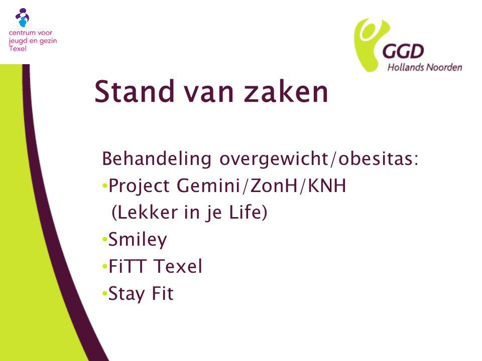 Stand van zaken Behandeling overgewicht/obesitas: Project Gemini/ZonH/KNH (Lekker in je Life) Smiley FiTT Texel Stay Fit