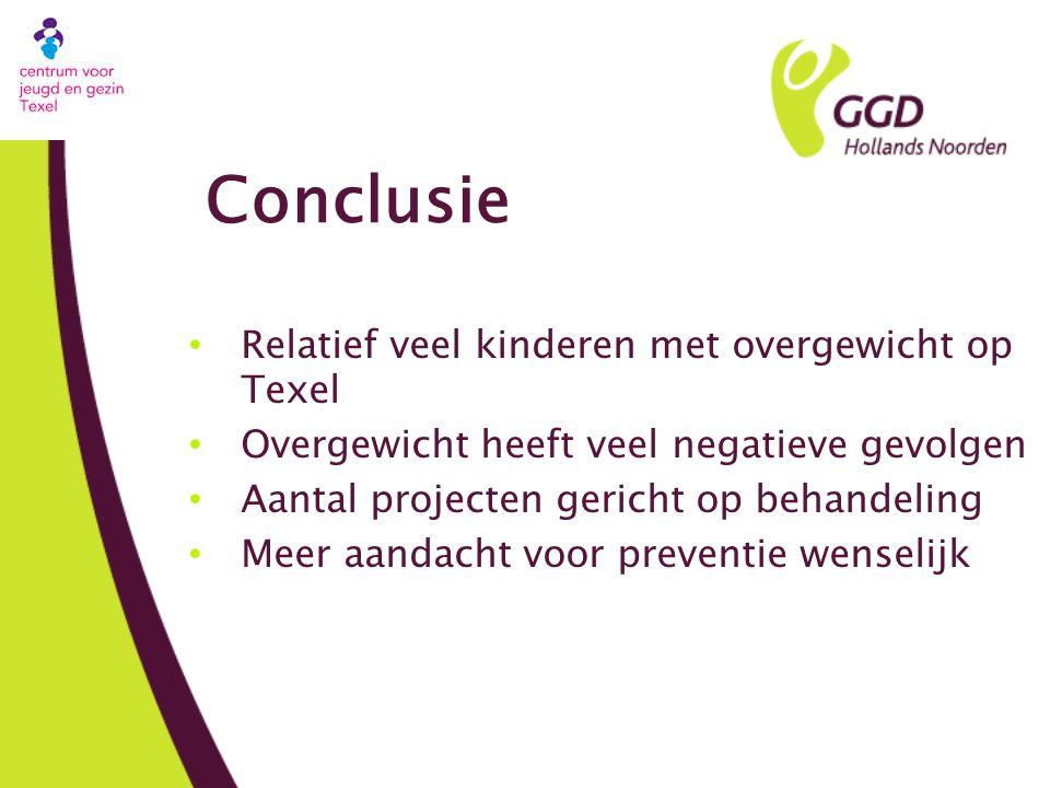 Conclusie Relatief veel kinderen met overgewicht op Texel Overgewicht heeft veel negatieve gevolgen Aantal projecten gericht op behandeling Meer aandacht voor preventie wenselijk