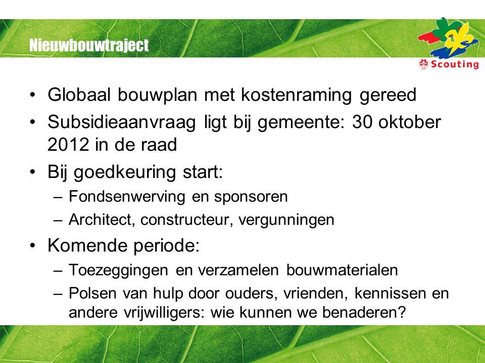Nieuwbouwtraject Globaal bouwplan met kostenraming gereed Subsidieaanvraag ligt bij gemeente: 30 oktober 2012 in de raad Bij goedkeuring start: –Fonds