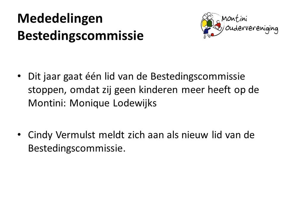 Mededelingen Bestedingscommissie Dit jaar gaat één lid van de Bestedingscommissie stoppen, omdat zij geen kinderen meer heeft op de Montini: Monique L