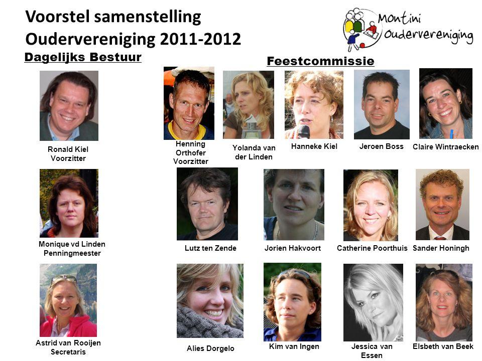 Voorstel samenstelling Oudervereniging 2011-2012 Ronald Kiel Voorzitter Monique vd Linden Penningmeester Dagelijks Bestuur Astrid van Rooijen Secretar