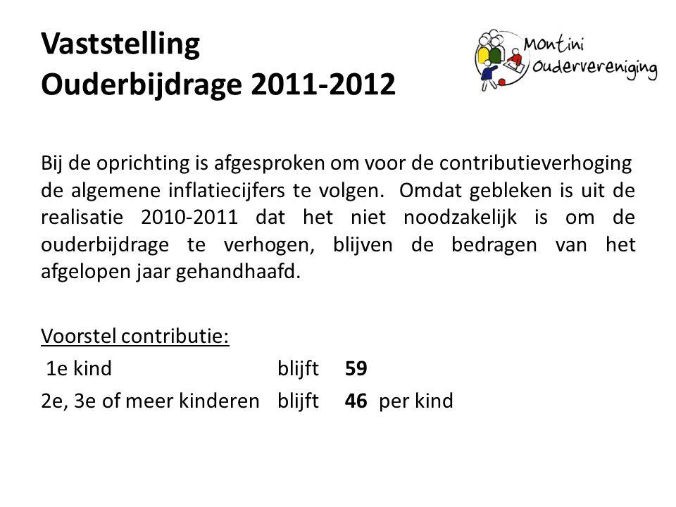 Vaststelling Ouderbijdrage 2011-2012 Bij de oprichting is afgesproken om voor de contributieverhoging de algemene inflatiecijfers te volgen. Omdat geb