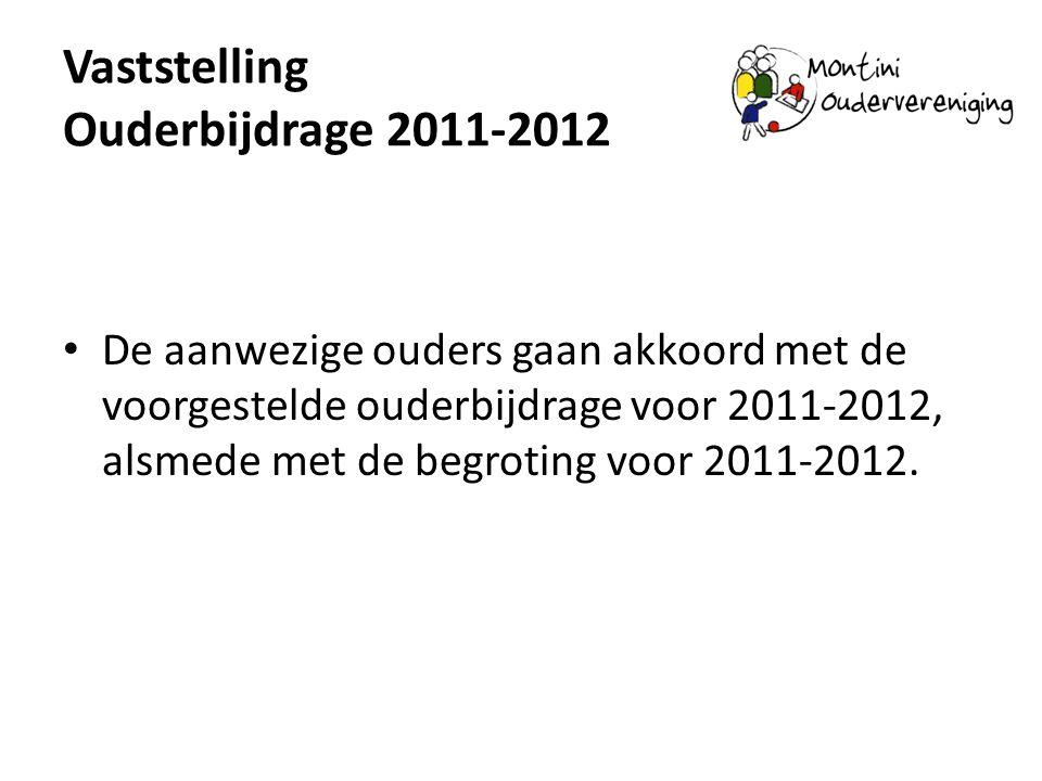 Vaststelling Ouderbijdrage 2011-2012 De aanwezige ouders gaan akkoord met de voorgestelde ouderbijdrage voor 2011-2012, alsmede met de begroting voor