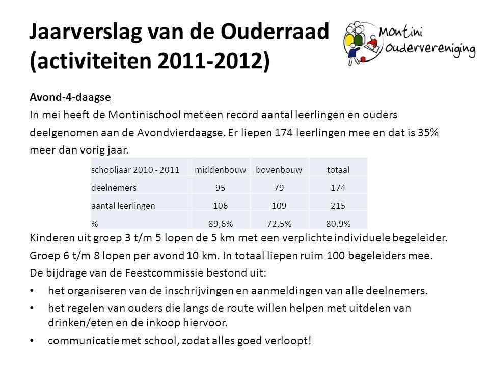Jaarverslag van de Ouderraad (activiteiten 2011-2012) Avond-4-daagse In mei heeft de Montinischool met een record aantal leerlingen en ouders deelgeno