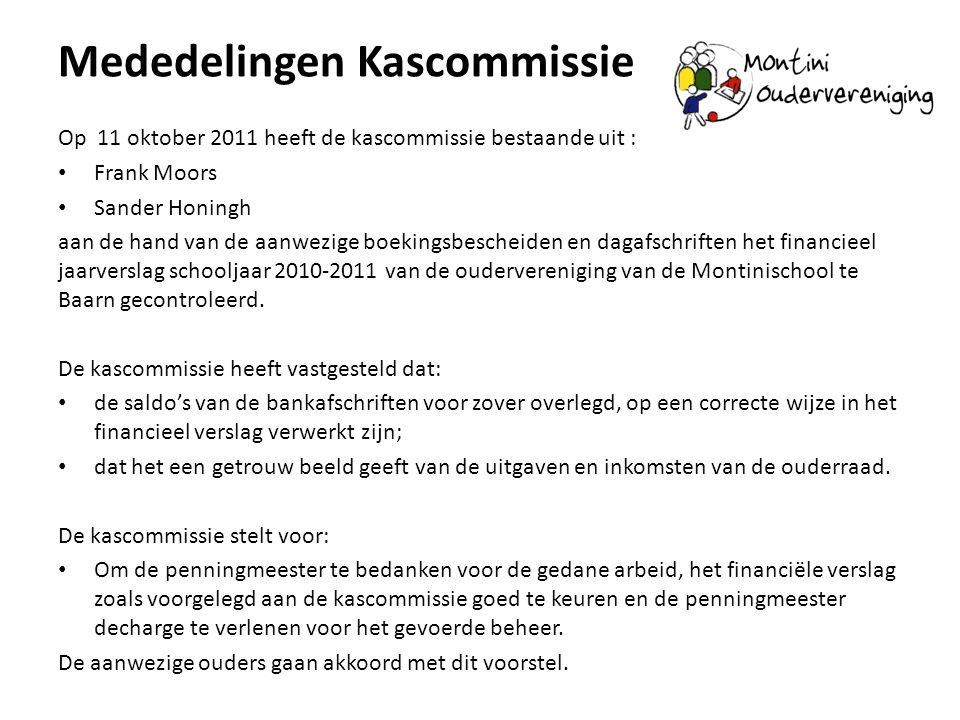 Mededelingen Kascommissie Op 11 oktober 2011 heeft de kascommissie bestaande uit : Frank Moors Sander Honingh aan de hand van de aanwezige boekingsbes