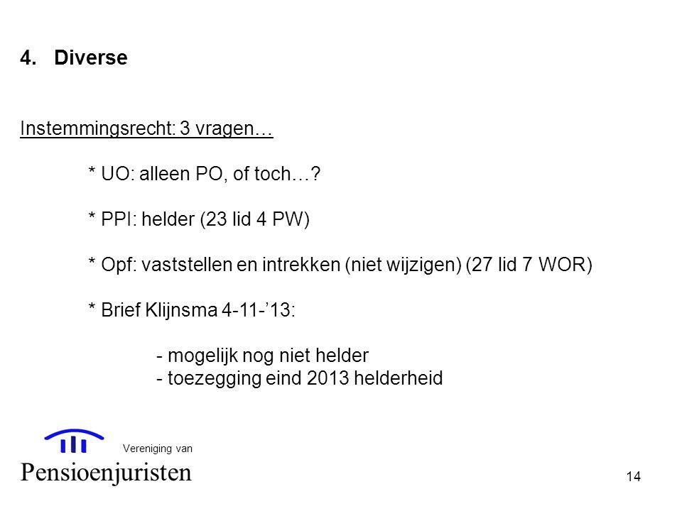 14 Vereniging van Pensioenjuristen 4.Diverse Instemmingsrecht: 3 vragen… * UO: alleen PO, of toch…? * PPI: helder (23 lid 4 PW) * Opf: vaststellen en