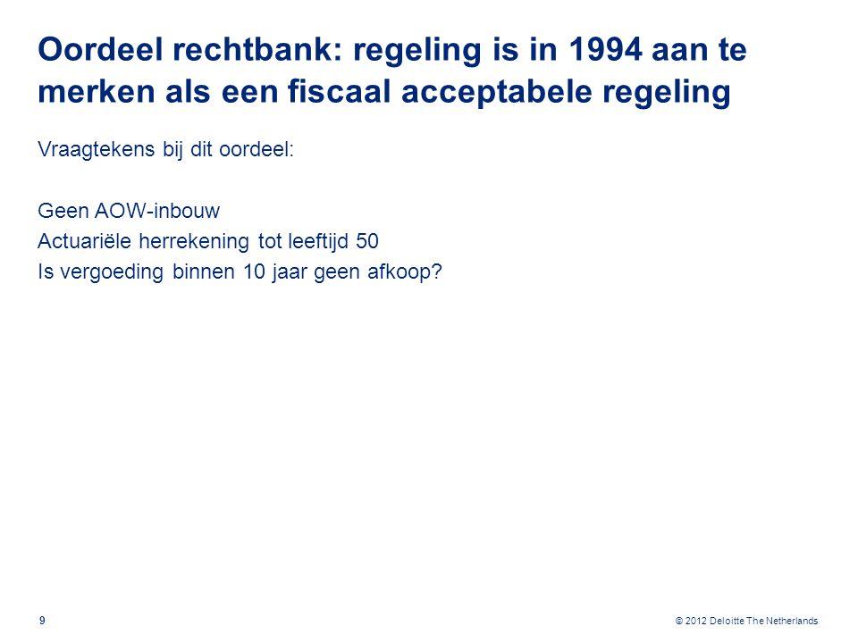 © 2012 Deloitte The Netherlands Oordeel rechtbank: regeling is in 1994 aan te merken als een fiscaal acceptabele regeling Vraagtekens bij dit oordeel: Geen AOW-inbouw Actuariële herrekening tot leeftijd 50 Is vergoeding binnen 10 jaar geen afkoop.