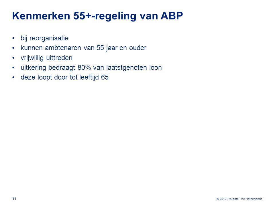 © 2012 Deloitte The Netherlands Kenmerken 55+-regeling van ABP bij reorganisatie kunnen ambtenaren van 55 jaar en ouder vrijwillig uittreden uitkering bedraagt 80% van laatstgenoten loon deze loopt door tot leeftijd 65 11