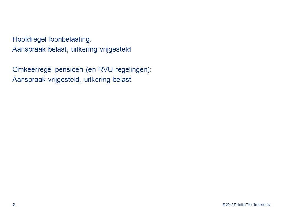 © 2012 Deloitte The Netherlands Aanpassing pensioenrichtleeftijd 2005 Op werknemers geboren voor 01-01-1950 blijft oud pensioenregime van toepassing.