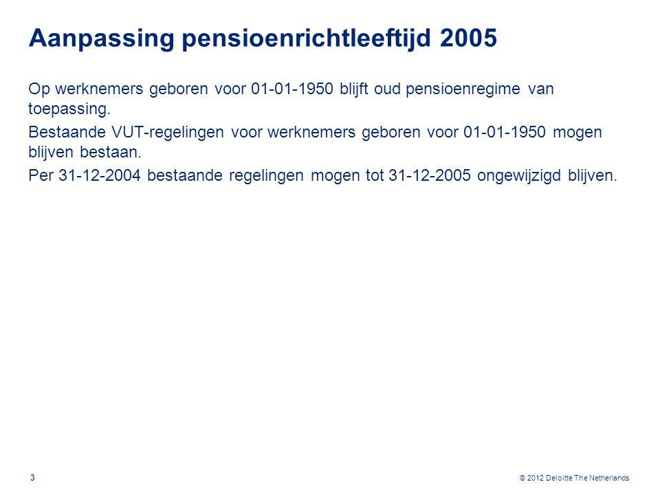 © 2012 Deloitte The Netherlands Aanpassing omkeerregeling 1995: Aanspraak ten onrechte niet belast -> uitkering belastingvrij Aanspraak ten onrechte niet belast -> uitkering belast Overgangsregeling vanaf 1995: Tot 1 januari 1995 opgebouwde aanspraken vallen onder oud regime: Aanspraak ten onrechte niet belast -> uitkering belastingvrij 4