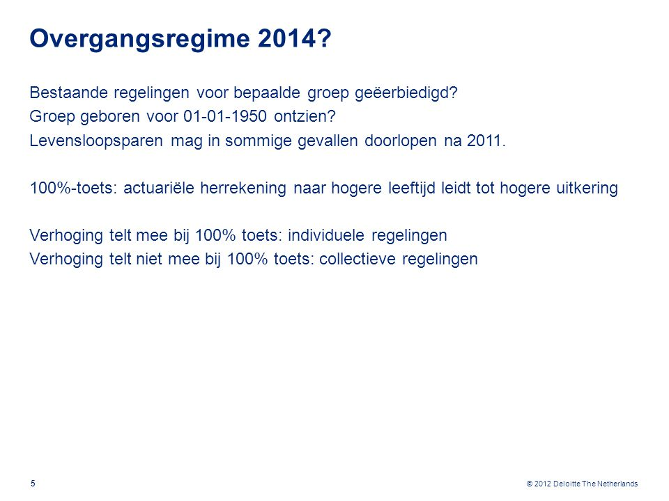 © 2012 Deloitte The Netherlands Overgangsregime 2014.