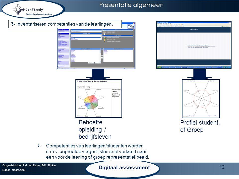 12 Opgesteld door: P.G. ten Haken & H. Stikker Datum: maart 2009 Presentatie algemeen Behoefte opleiding / bedrijfsleven Profiel student, of Groep  C