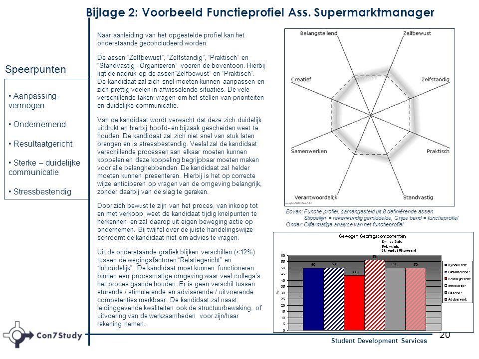 20 Student Development Services Bijlage 2: Voorbeeld Functieprofiel Ass. Supermarktmanager Aanpassing- vermogen Ondernemend Resultaatgericht Sterke –