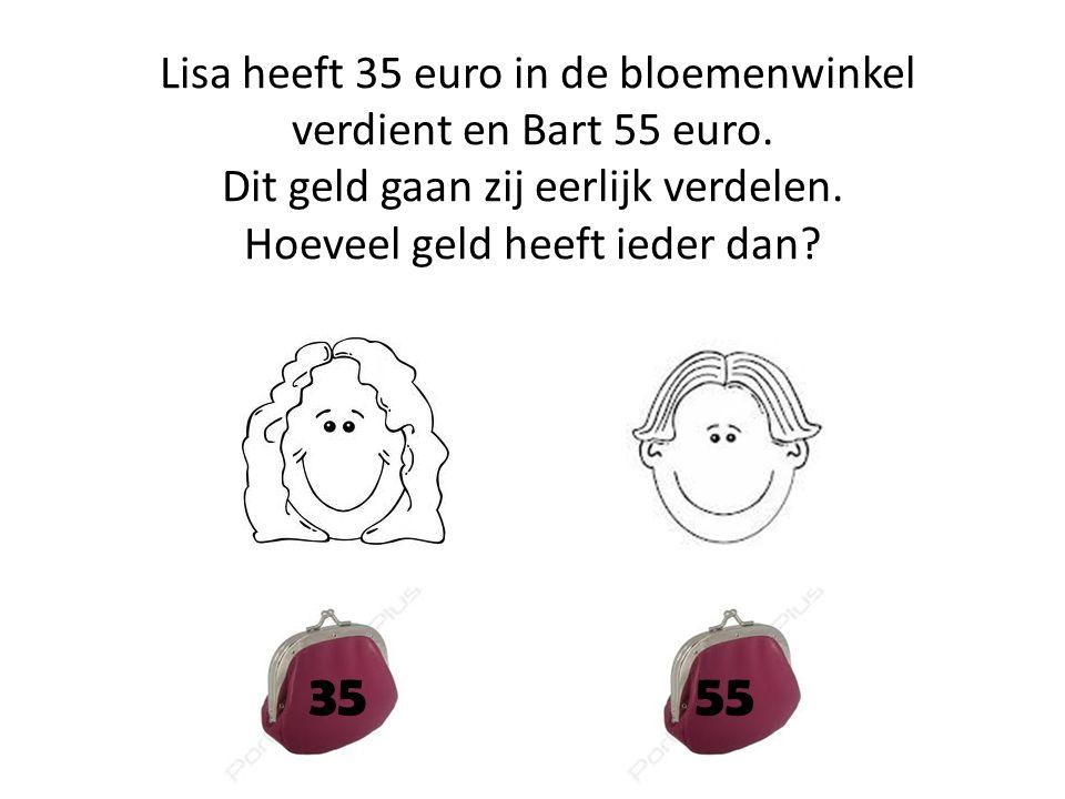 Lisa heeft 35 euro in de bloemenwinkel verdient en Bart 55 euro. Dit geld gaan zij eerlijk verdelen. Hoeveel geld heeft ieder dan? 3555
