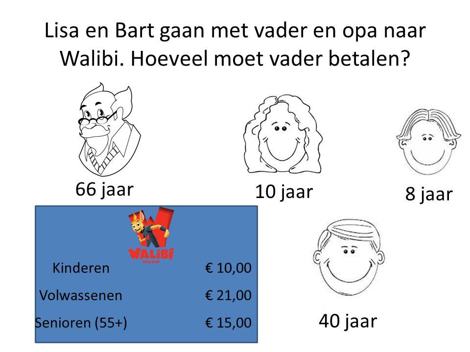 Lisa en Bart gaan met vader en opa naar Walibi. Hoeveel moet vader betalen? Kinderen€ 10,00 Volwassenen€ 21,00 Senioren (55+)€ 15,00 10 jaar 8 jaar 40