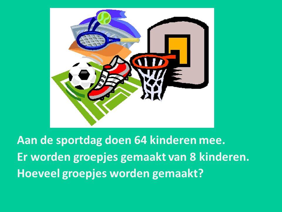 Aan de sportdag doen 64 kinderen mee. Er worden groepjes gemaakt van 8 kinderen. Hoeveel groepjes worden gemaakt?