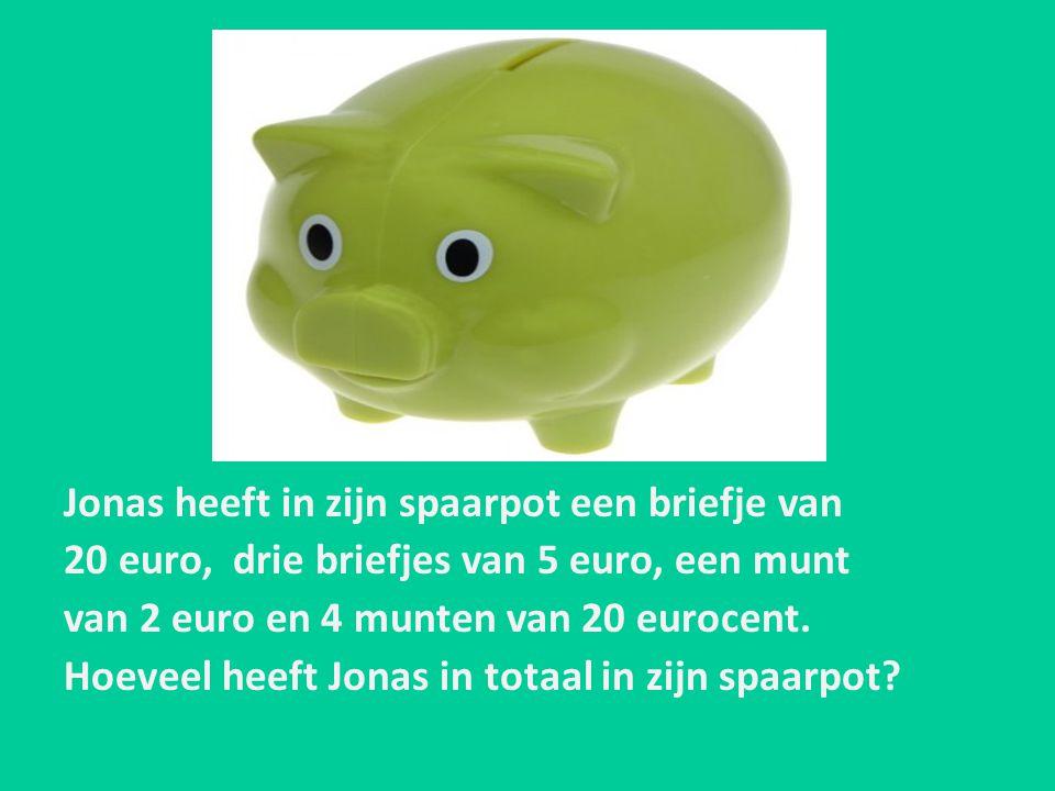 Jonas heeft in zijn spaarpot een briefje van 20 euro, drie briefjes van 5 euro, een munt van 2 euro en 4 munten van 20 eurocent. Hoeveel heeft Jonas i