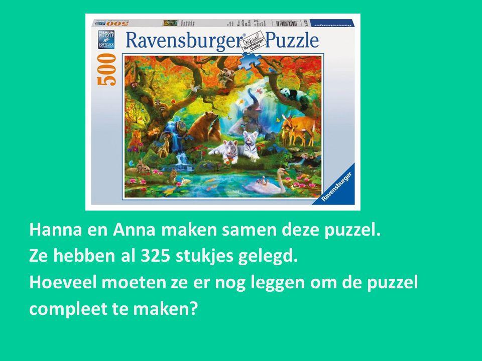 Hanna en Anna maken samen deze puzzel. Ze hebben al 325 stukjes gelegd. Hoeveel moeten ze er nog leggen om de puzzel compleet te maken?