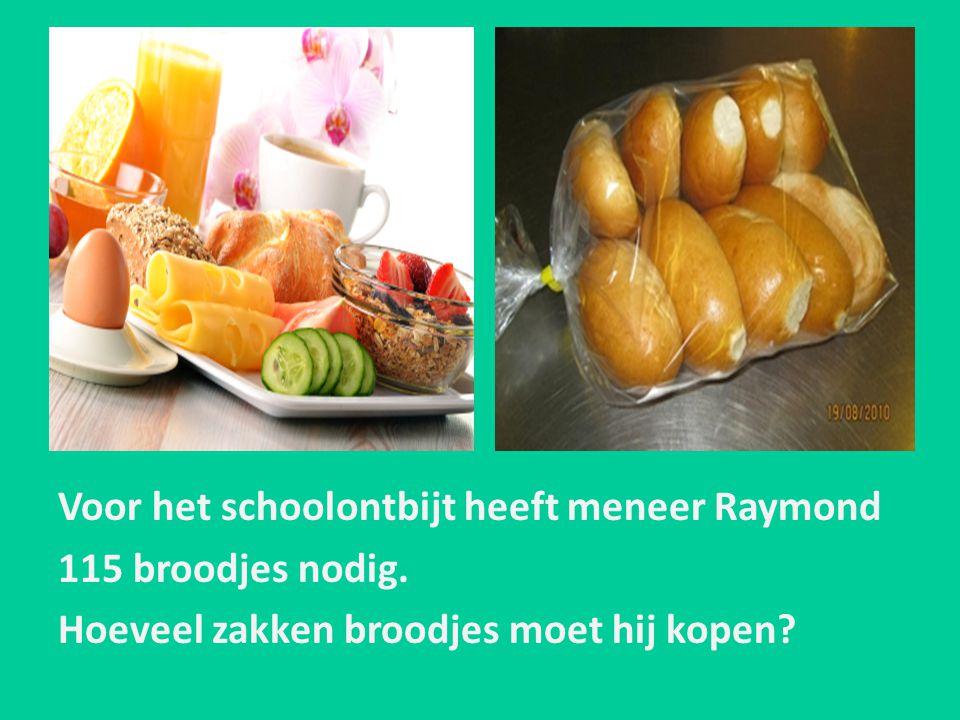 Voor het schoolontbijt heeft meneer Raymond 115 broodjes nodig. Hoeveel zakken broodjes moet hij kopen?