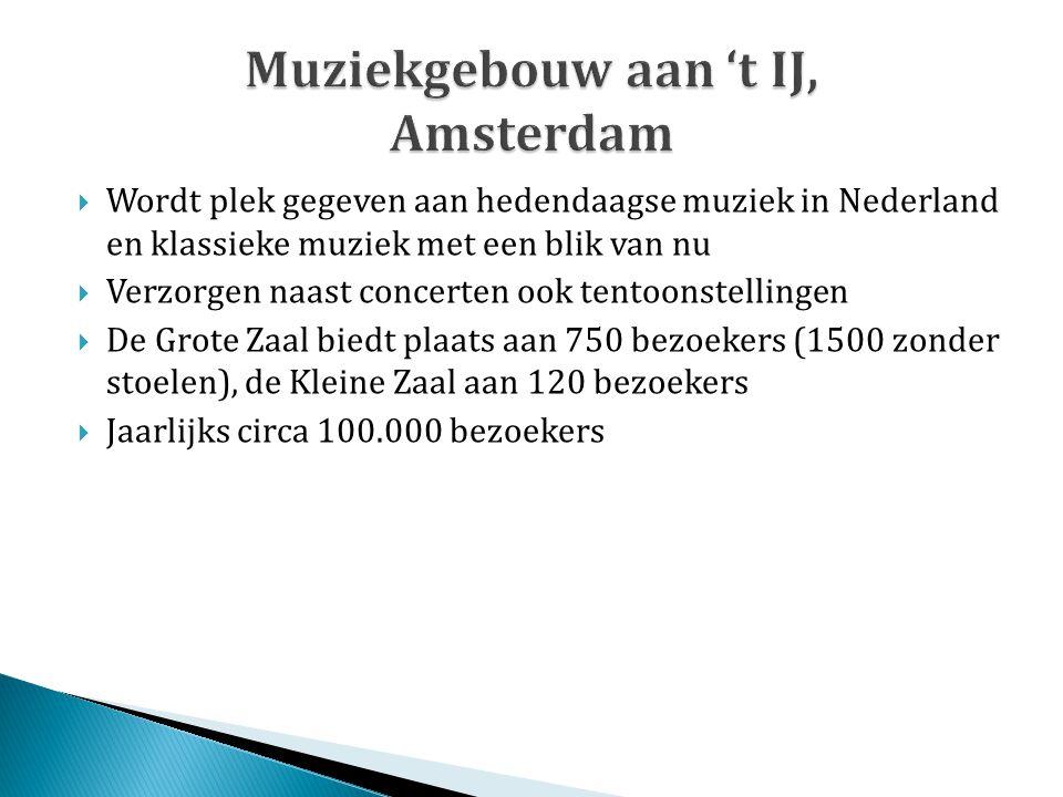  Wordt plek gegeven aan hedendaagse muziek in Nederland en klassieke muziek met een blik van nu  Verzorgen naast concerten ook tentoonstellingen  D