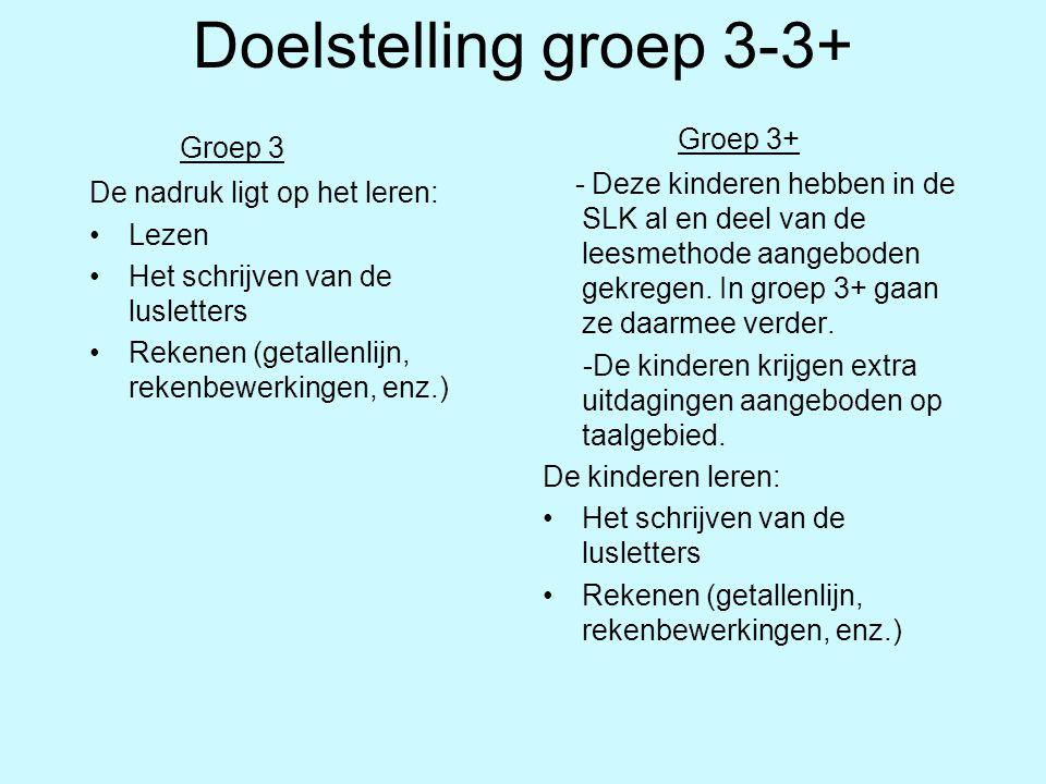 Doelstelling groep 3-3+ Groep 3 De nadruk ligt op het leren: Lezen Het schrijven van de lusletters Rekenen (getallenlijn, rekenbewerkingen, enz.) Groe