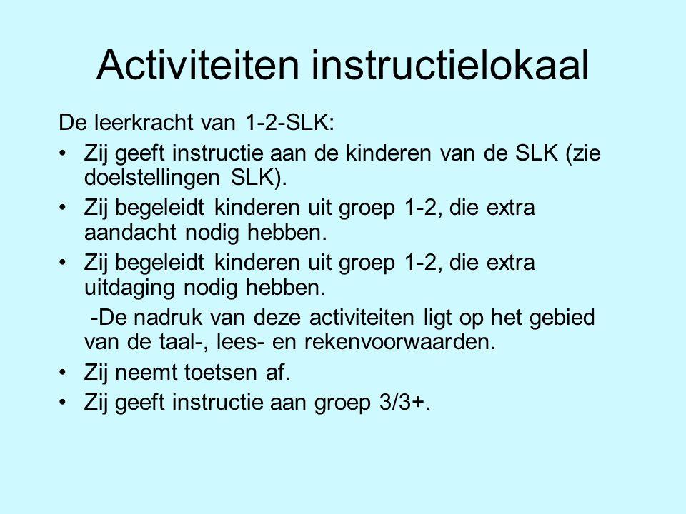 Dagindeling groep 1-2-SLK 08.30-09.00 uur: Inloop + kringactiviteit in eigen (thuis)groep 09.00-10.00 uur: Werken (2 lokalen) / activiteit in het instructielokaal 10.00-10.15 uur: Fruit eten in eigen (thuis)groep 10.15-10.30 uur: Kringactiviteit in eigen (thuis)groep 10.30-11.30 uur: Beweging (1 leerkracht geeft instructie aan gr.