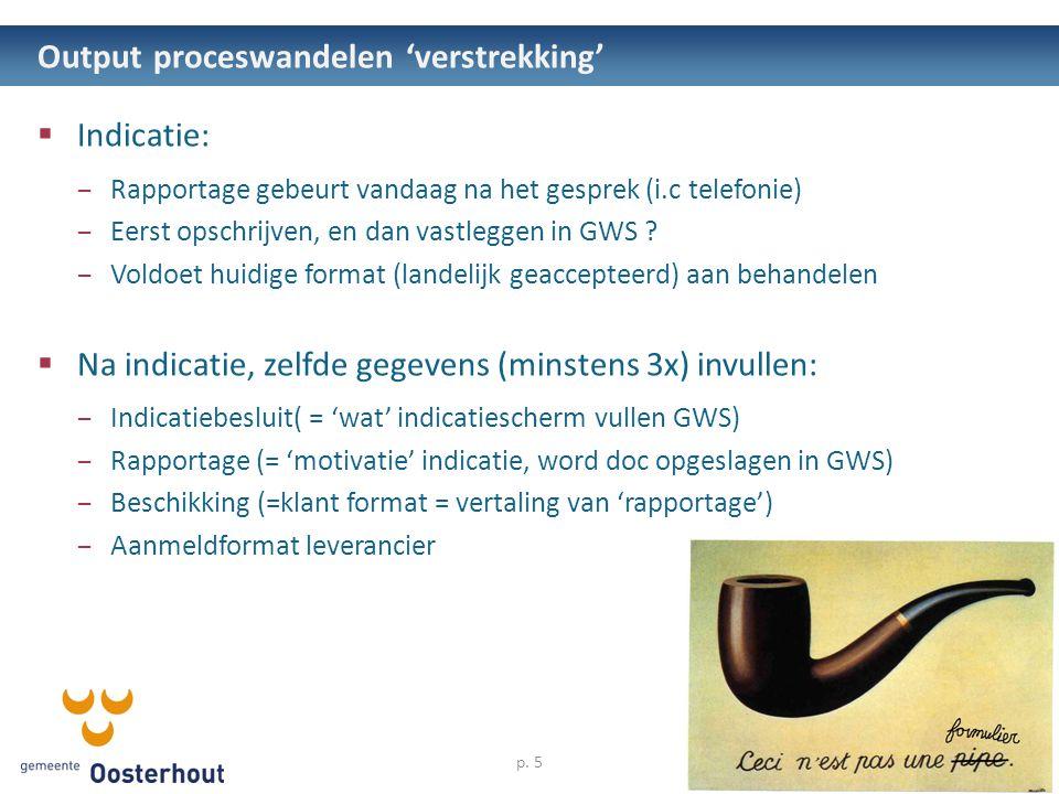 Output proceswandelen 'verstrekking'  Indicatie: – Rapportage gebeurt vandaag na het gesprek (i.c telefonie) – Eerst opschrijven, en dan vastleggen in GWS .