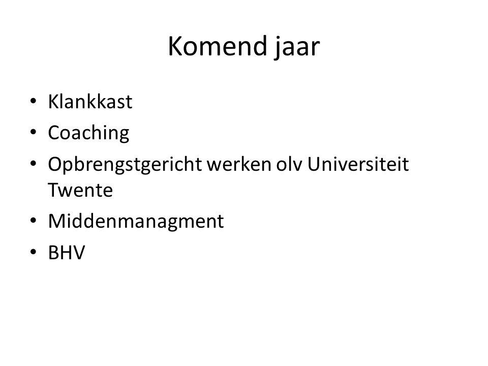Komend jaar Klankkast Coaching Opbrengstgericht werken olv Universiteit Twente Middenmanagment BHV
