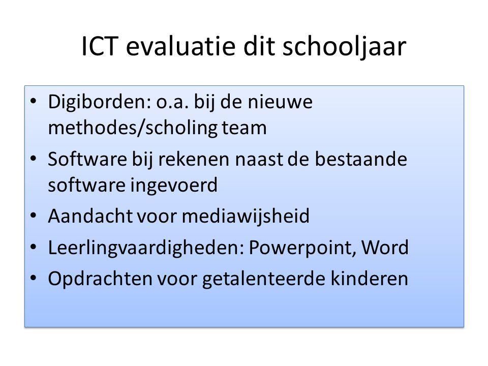 ICT evaluatie dit schooljaar Digiborden: o.a. bij de nieuwe methodes/scholing team Software bij rekenen naast de bestaande software ingevoerd Aandacht