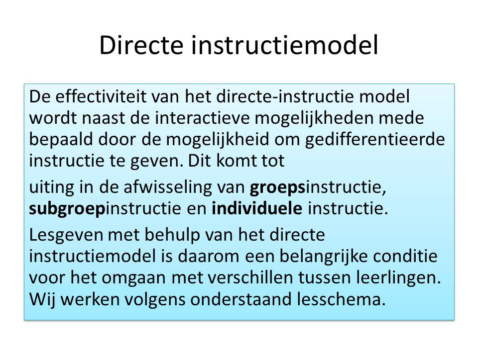 Directe instructiemodel De effectiviteit van het directe-instructie model wordt naast de interactieve mogelijkheden mede bepaald door de mogelijkheid