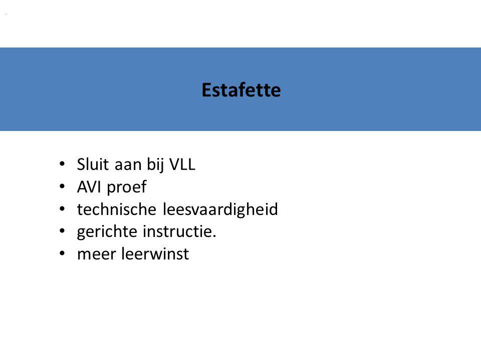 Estafette Sluit aan bij VLL AVI proef technische leesvaardigheid gerichte instructie. meer leerwinst.