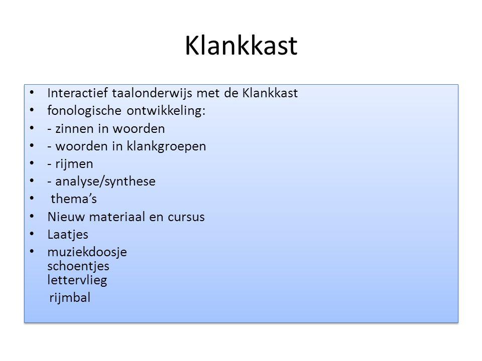 Klankkast Interactief taalonderwijs met de Klankkast fonologische ontwikkeling: - zinnen in woorden - woorden in klankgroepen - rijmen - analyse/synth