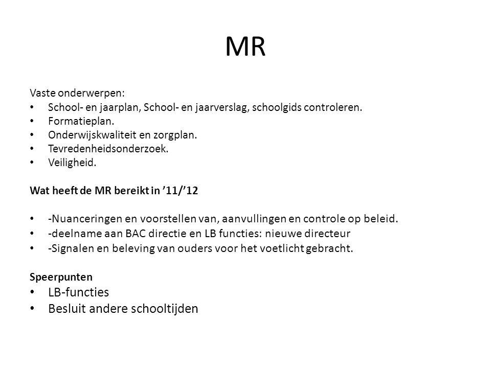 MR Vaste onderwerpen: School- en jaarplan, School- en jaarverslag, schoolgids controleren. Formatieplan. Onderwijskwaliteit en zorgplan. Tevredenheids