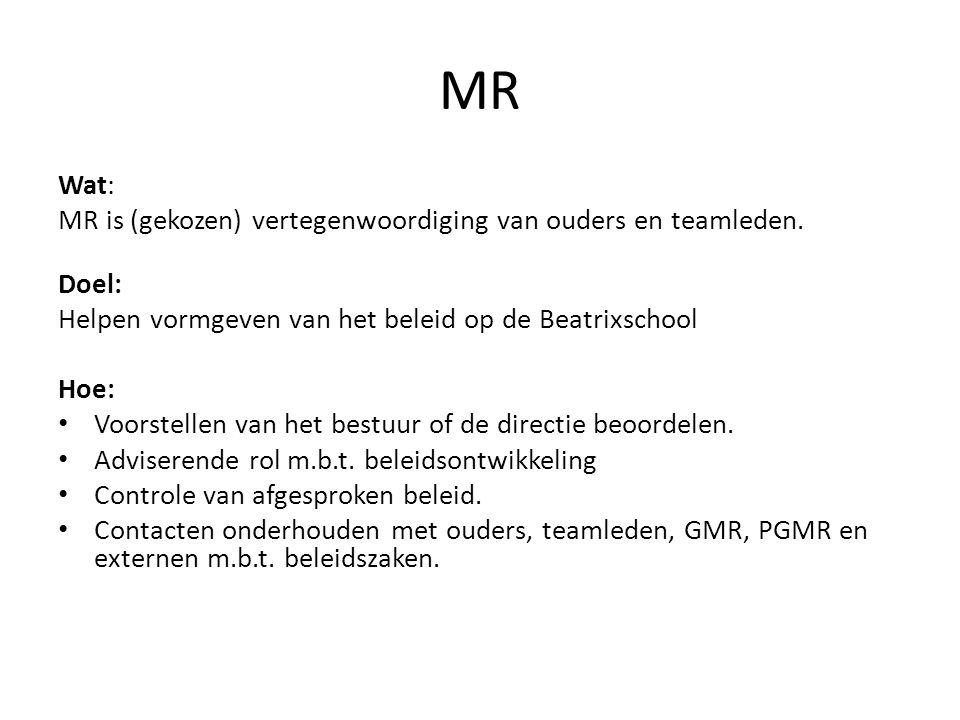 MR Wat: MR is (gekozen) vertegenwoordiging van ouders en teamleden. Doel: Helpen vormgeven van het beleid op de Beatrixschool Hoe: Voorstellen van het