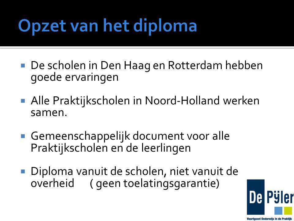  De scholen in Den Haag en Rotterdam hebben goede ervaringen  Alle Praktijkscholen in Noord-Holland werken samen.