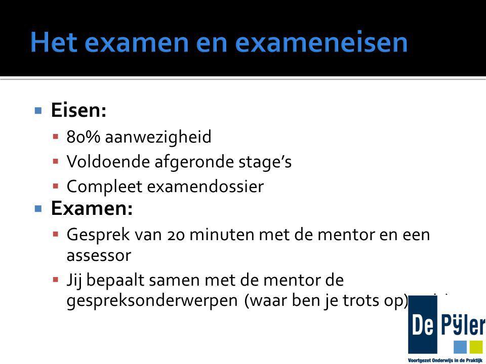  Eisen:  80% aanwezigheid  Voldoende afgeronde stage's  Compleet examendossier  Examen:  Gesprek van 20 minuten met de mentor en een assessor  Jij bepaalt samen met de mentor de gespreksonderwerpen (waar ben je trots op)op is)