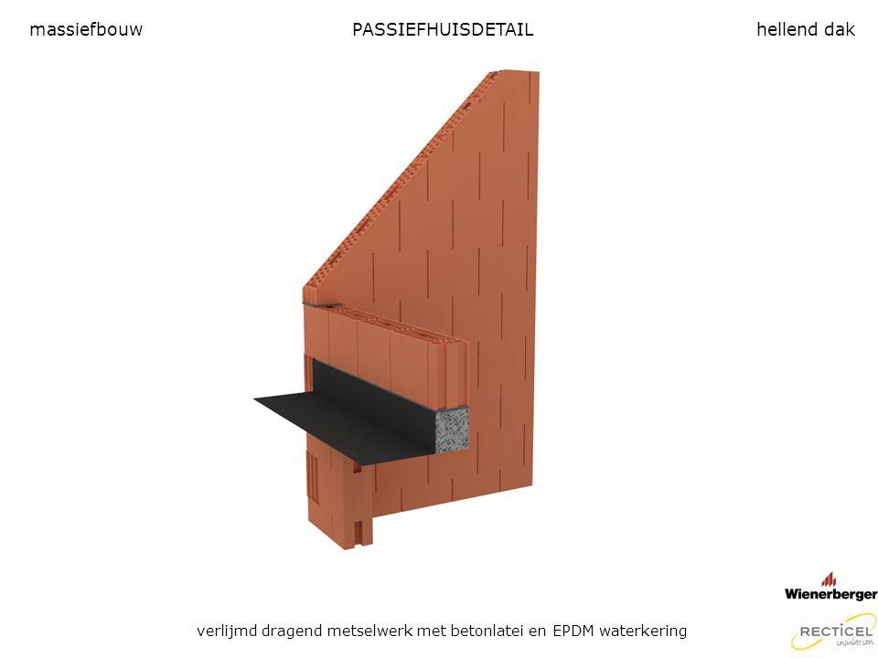 PASSIEFHUISDETAIL verlijmd dragend metselwerk met betonlatei en EPDM waterkering massiefbouwhellend dak