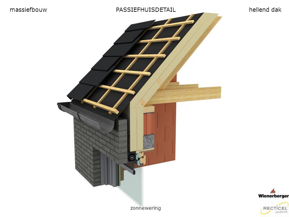 PASSIEFHUISDETAIL zonnewering massiefbouwhellend dak