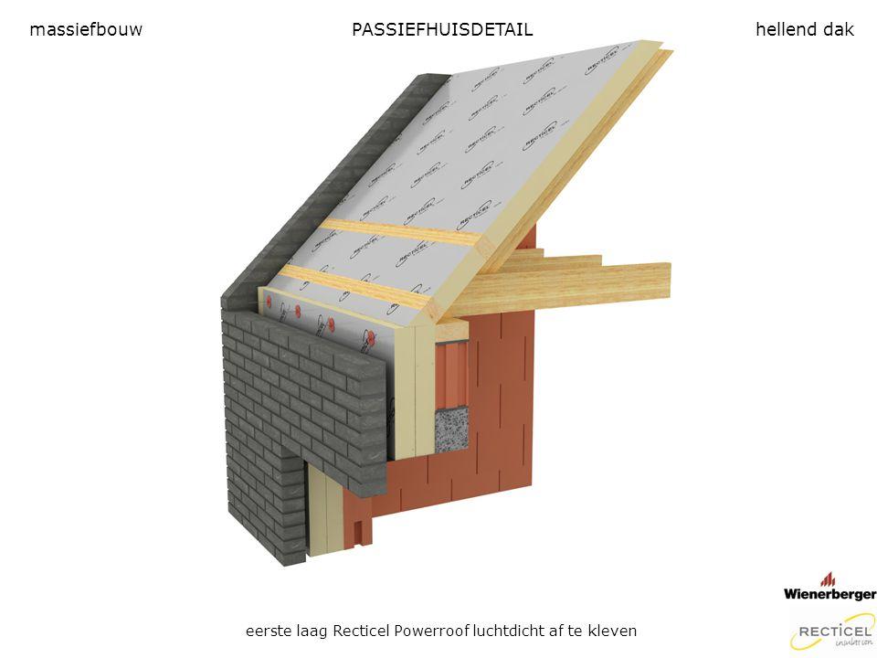 PASSIEFHUISDETAIL eerste laag Recticel Powerroof luchtdicht af te kleven massiefbouwhellend dak