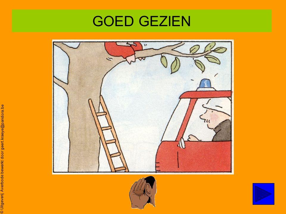 © Uitgeverij Averbode bewerkt door geert.kraeye@pandora.be Poes zit in de boom… Oei,oei,oei ZOEK prent 4 