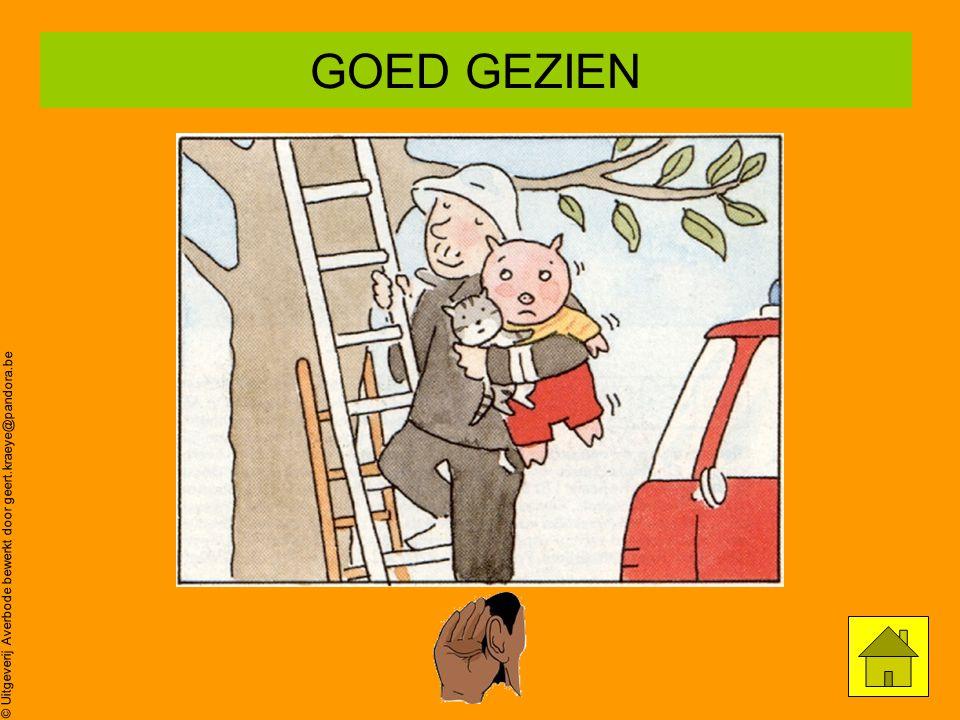 © Uitgeverij Averbode bewerkt door geert.kraeye@pandora.be Poes zit in de boom… Oei,oei,oei ZOEK prent 6 