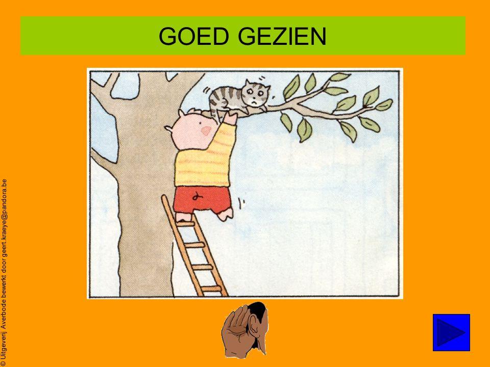 © Uitgeverij Averbode bewerkt door geert.kraeye@pandora.be Poes zit in de boom… Oei,oei,oei ZOEK prent 2 