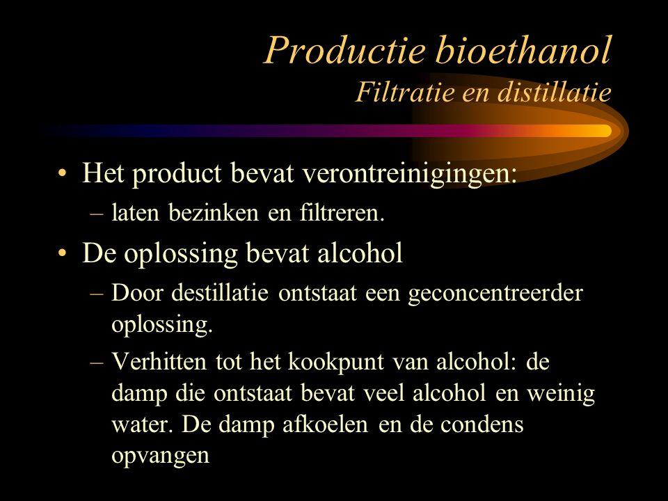 Productie bioethanol Filtratie en distillatie Het product bevat verontreinigingen: –laten bezinken en filtreren. De oplossing bevat alcohol –Door dest